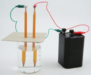 Set up an electrolysis experiment with two pencils and a battery
