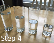 Water in glasses for xylophone